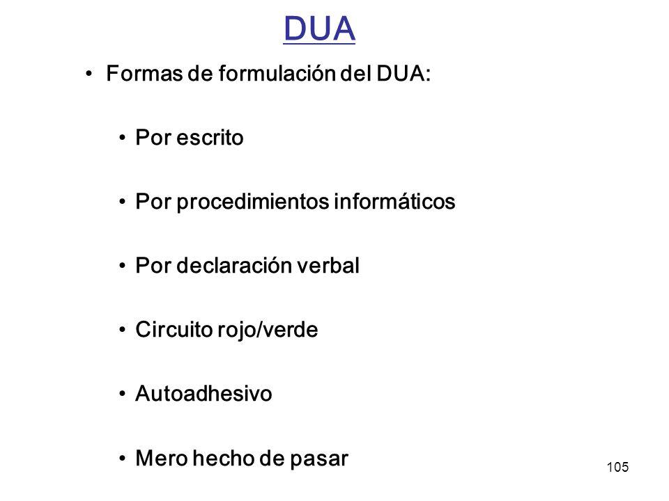 DUA Formas de formulación del DUA: Por escrito