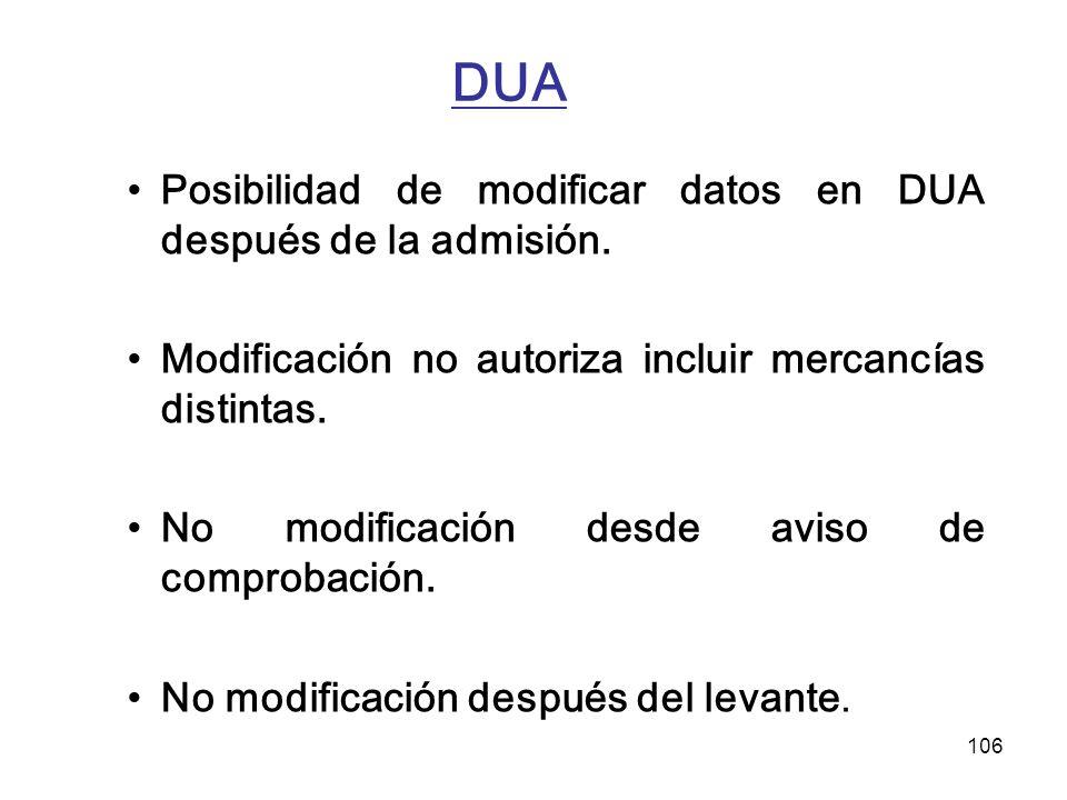 DUA Posibilidad de modificar datos en DUA después de la admisión.