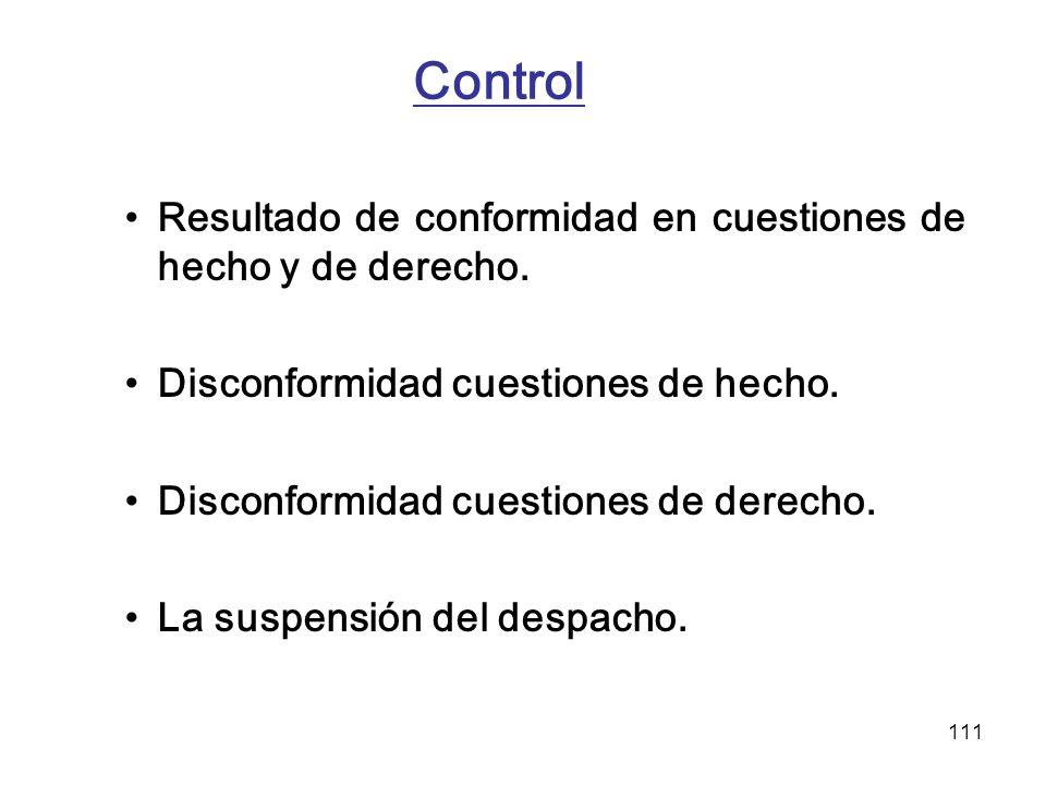 Control Resultado de conformidad en cuestiones de hecho y de derecho.