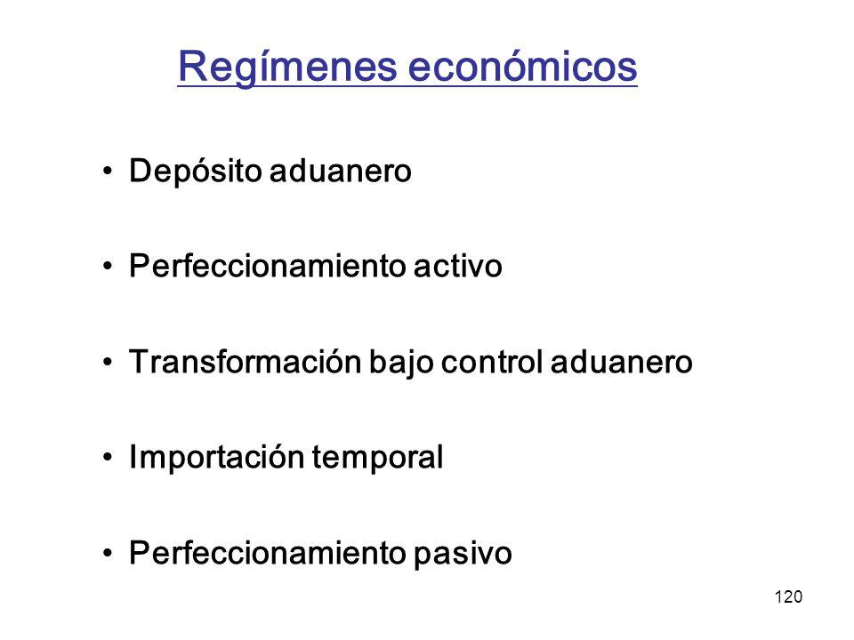 Regímenes económicos Depósito aduanero Perfeccionamiento activo