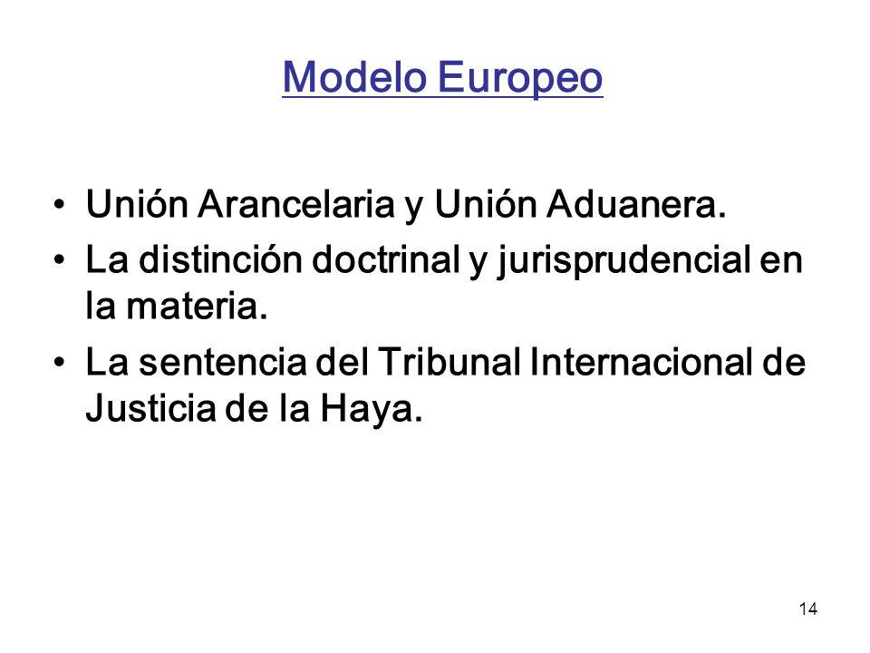 Modelo Europeo Unión Arancelaria y Unión Aduanera.