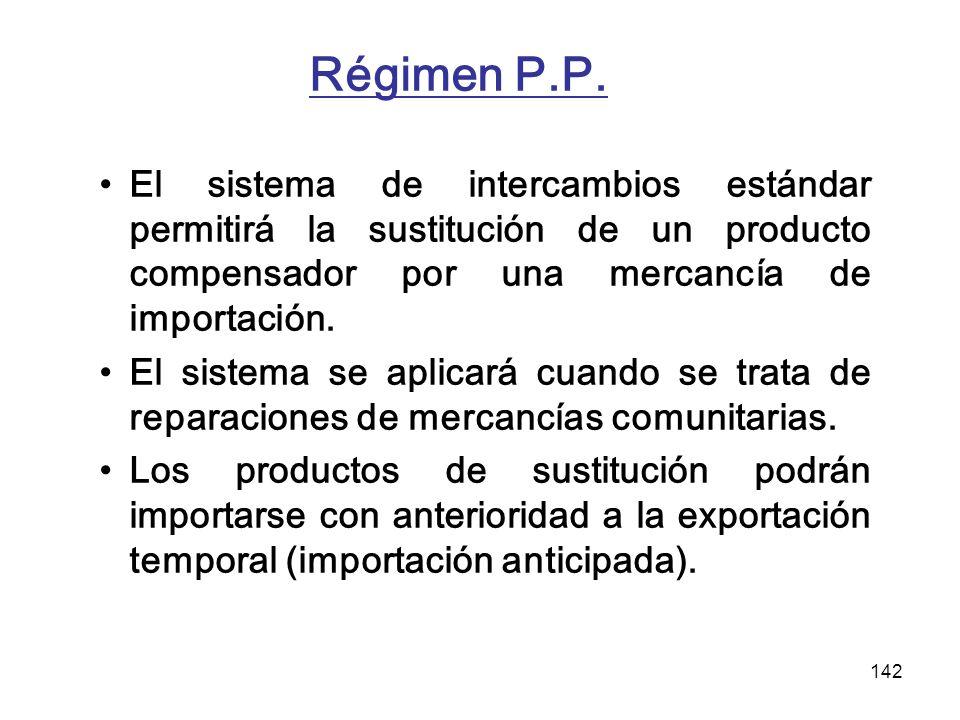 Régimen P.P. El sistema de intercambios estándar permitirá la sustitución de un producto compensador por una mercancía de importación.