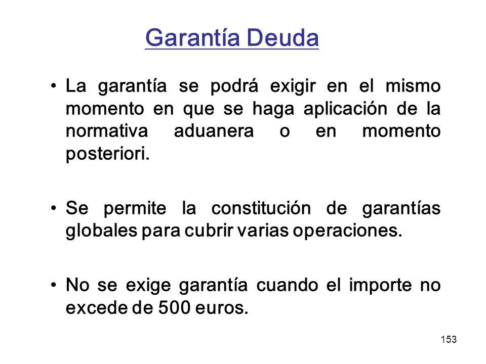Garantía Deuda La garantía se podrá exigir en el mismo momento en que se haga aplicación de la normativa aduanera o en momento posteriori.
