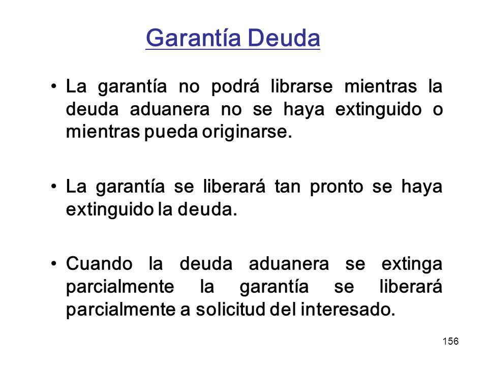 Garantía Deuda La garantía no podrá librarse mientras la deuda aduanera no se haya extinguido o mientras pueda originarse.