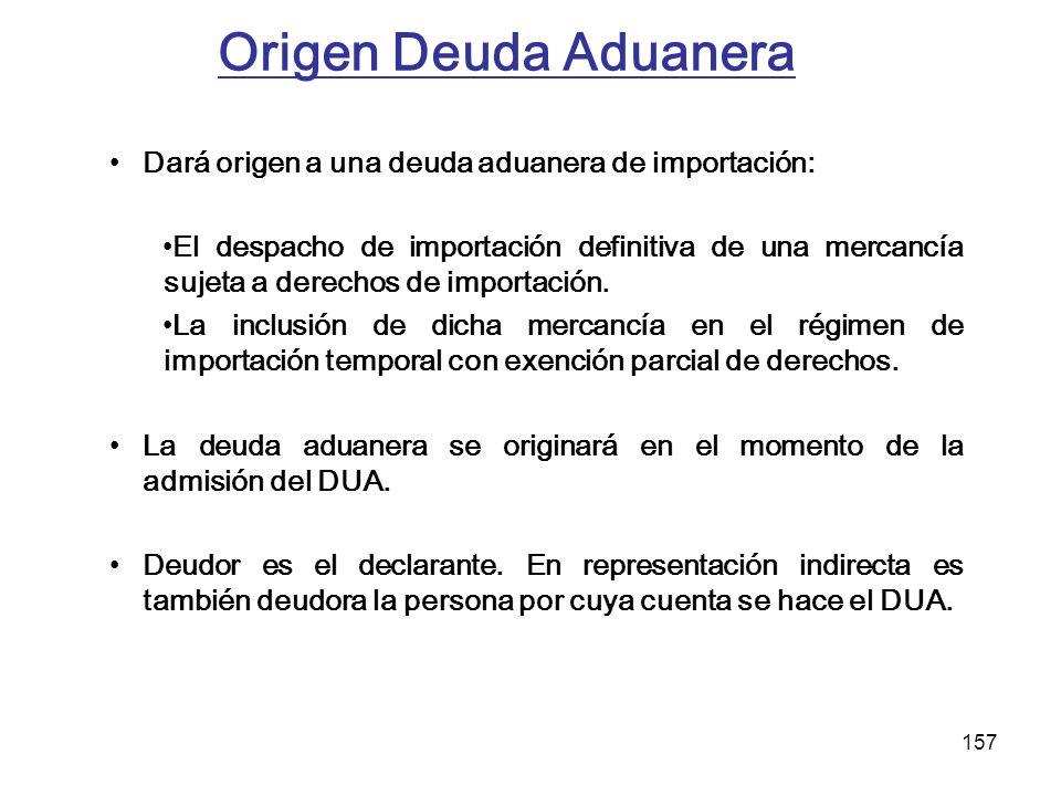 Origen Deuda Aduanera Dará origen a una deuda aduanera de importación:
