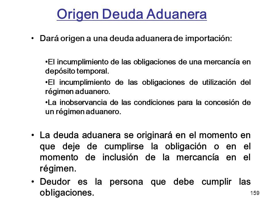 Origen Deuda Aduanera Dará origen a una deuda aduanera de importación: El incumplimiento de las obligaciones de una mercancía en depósito temporal.