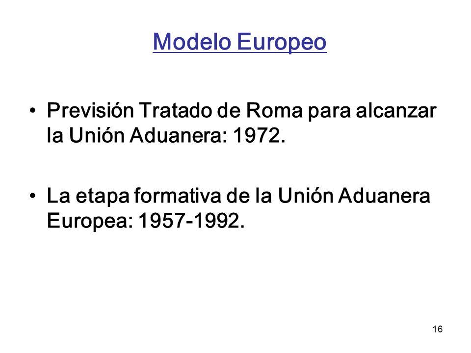 Modelo Europeo Previsión Tratado de Roma para alcanzar la Unión Aduanera: 1972.