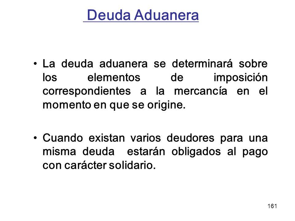 Deuda Aduanera La deuda aduanera se determinará sobre los elementos de imposición correspondientes a la mercancía en el momento en que se origine.