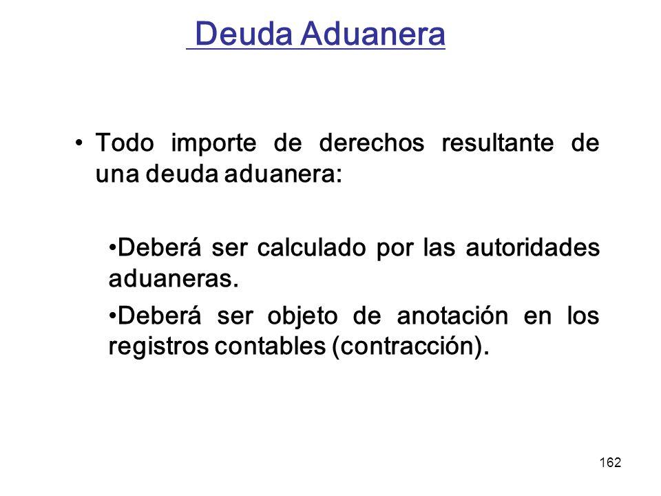 Deuda Aduanera Todo importe de derechos resultante de una deuda aduanera: Deberá ser calculado por las autoridades aduaneras.