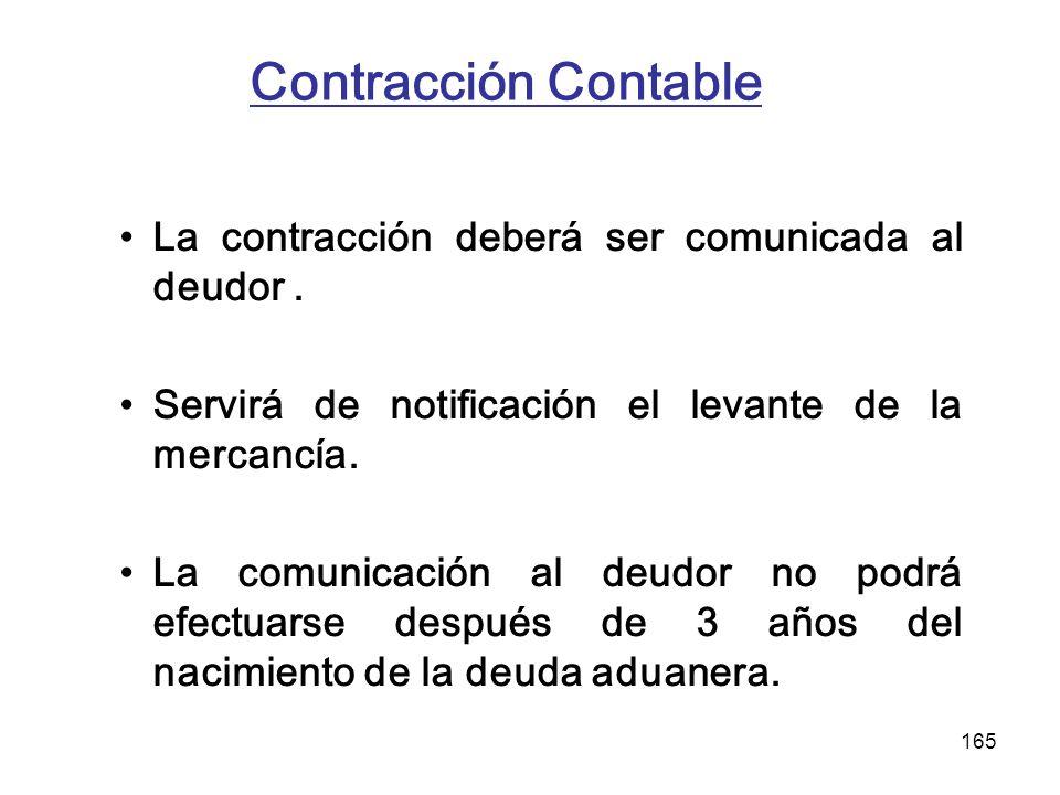 Contracción Contable La contracción deberá ser comunicada al deudor .