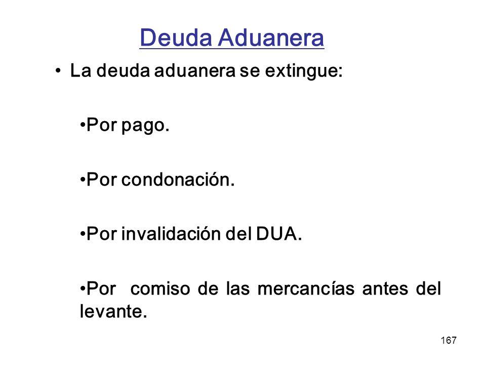 Deuda Aduanera La deuda aduanera se extingue: Por pago.