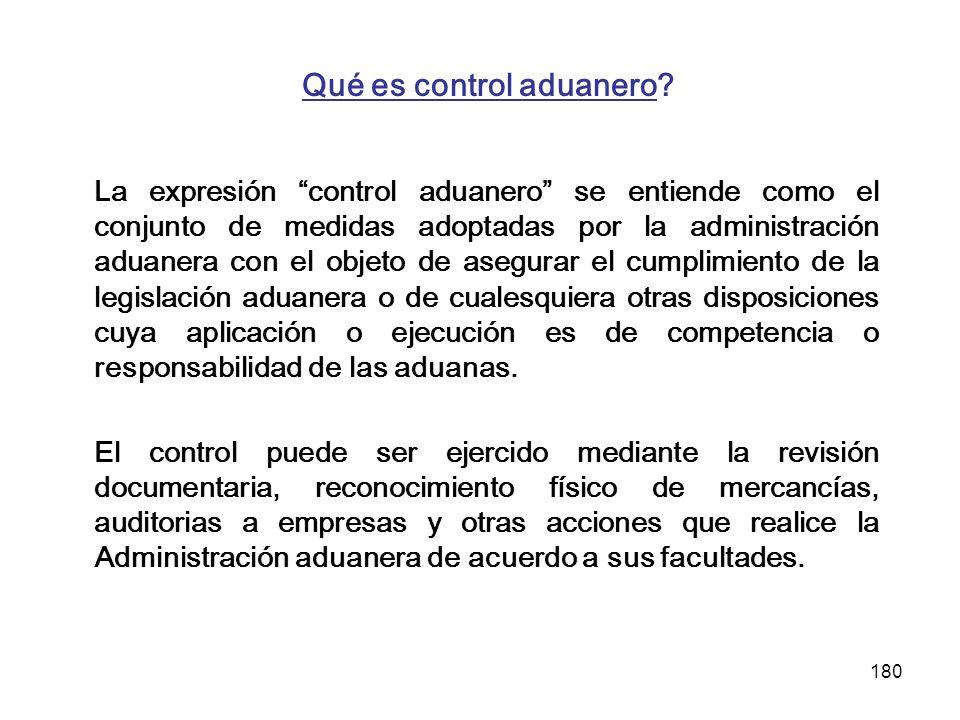Qué es control aduanero