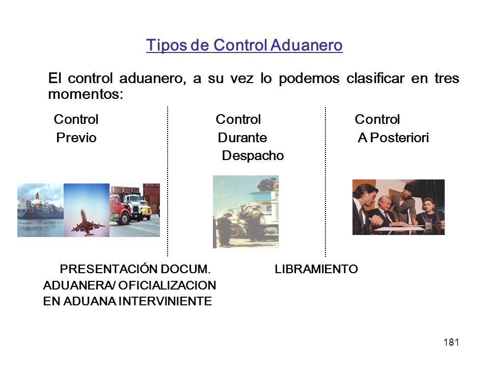 Tipos de Control Aduanero