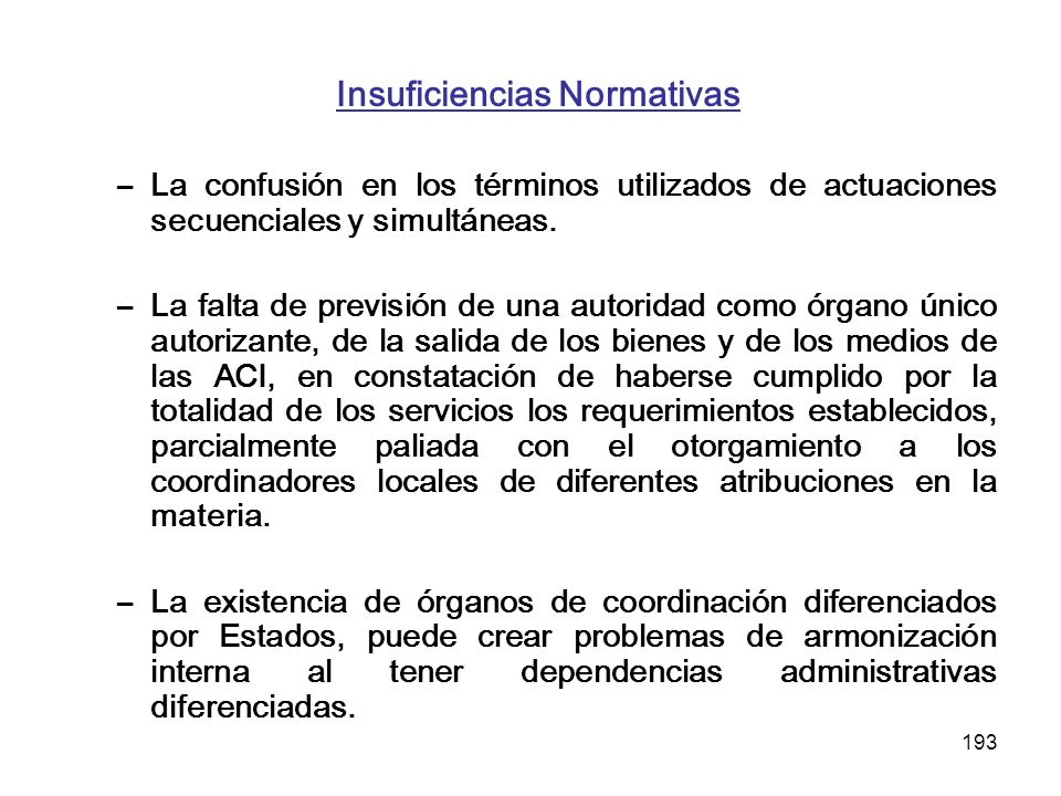 Insuficiencias Normativas