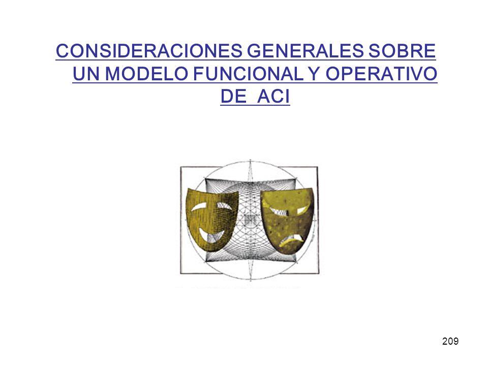 CONSIDERACIONES GENERALES SOBRE UN MODELO FUNCIONAL Y OPERATIVO DE ACI