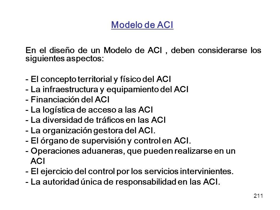 Modelo de ACI En el diseño de un Modelo de ACI , deben considerarse los siguientes aspectos: - El concepto territorial y físico del ACI.