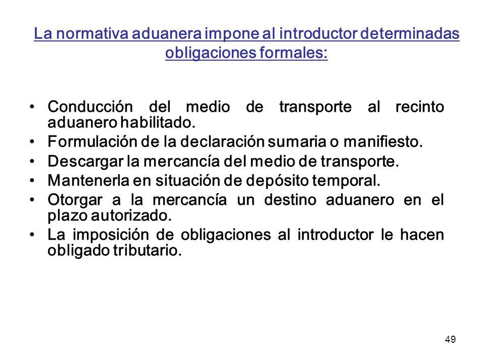 La normativa aduanera impone al introductor determinadas obligaciones formales: