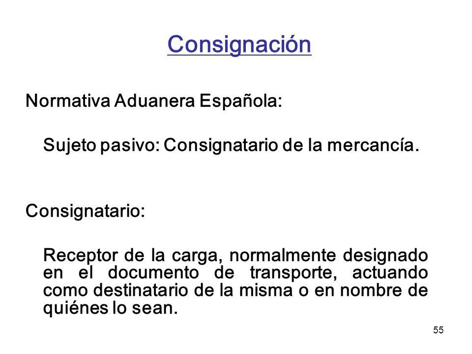 Consignación Normativa Aduanera Española: