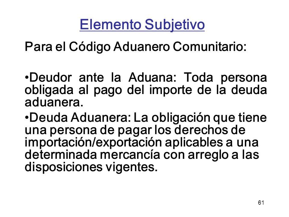 Elemento Subjetivo Para el Código Aduanero Comunitario: