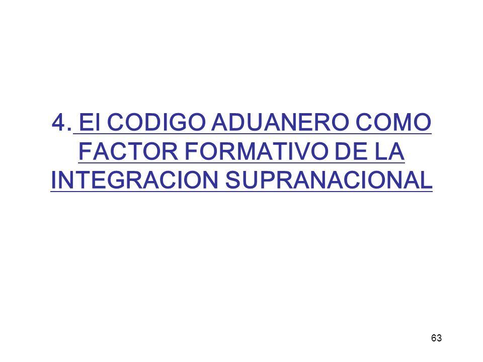 4. El CODIGO ADUANERO COMO FACTOR FORMATIVO DE LA INTEGRACION SUPRANACIONAL