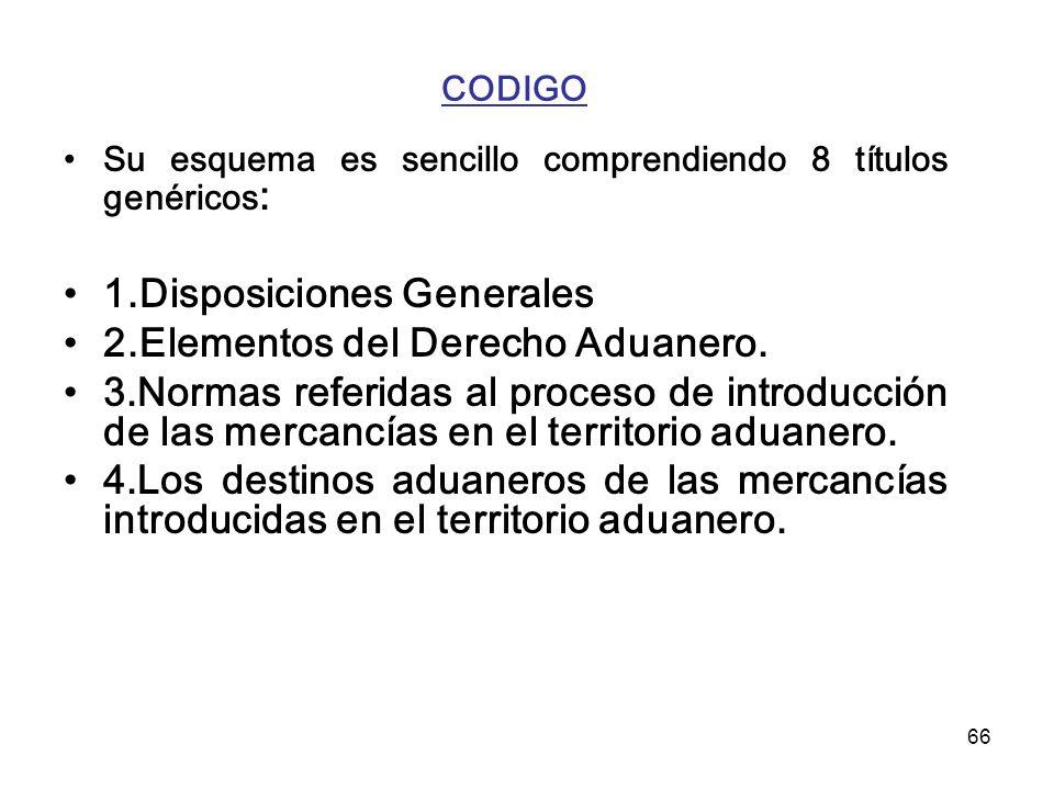 1.Disposiciones Generales 2.Elementos del Derecho Aduanero.