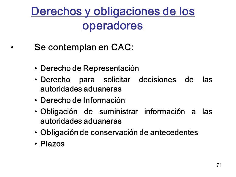 Derechos y obligaciones de los operadores