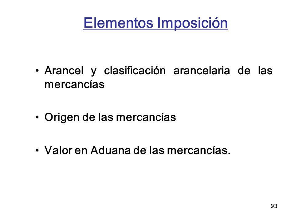 Elementos Imposición Arancel y clasificación arancelaria de las mercancías. Origen de las mercancías.