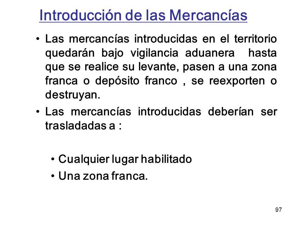 Introducción de las Mercancías