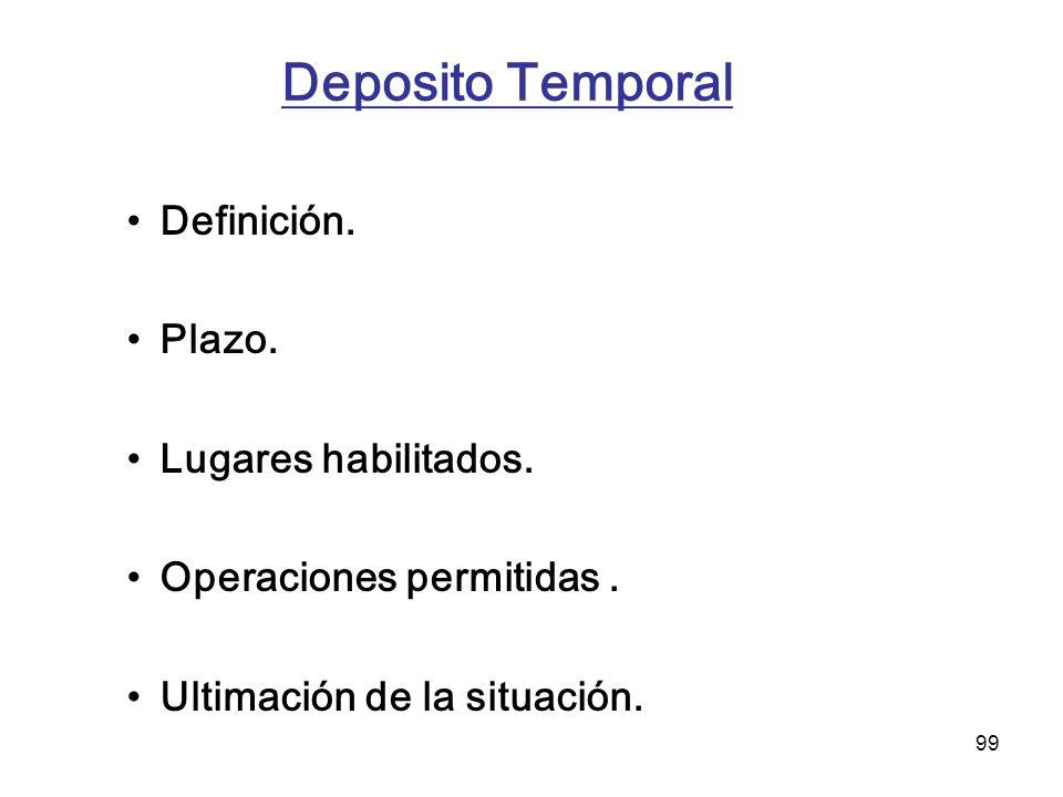 Deposito Temporal Definición. Plazo. Lugares habilitados.