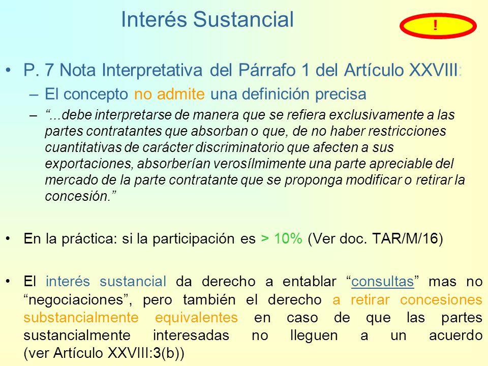 Interés Sustancial! P. 7 Nota Interpretativa del Párrafo 1 del Artículo XXVIII: El concepto no admite una definición precisa.