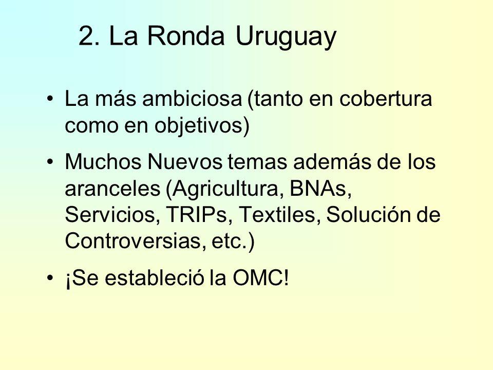 2. La Ronda UruguayLa más ambiciosa (tanto en cobertura como en objetivos)