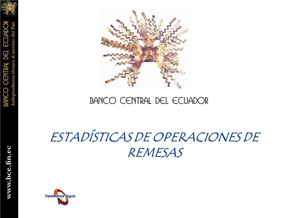 ESTADÍSTICAS DE OPERACIONES DE REMESAS