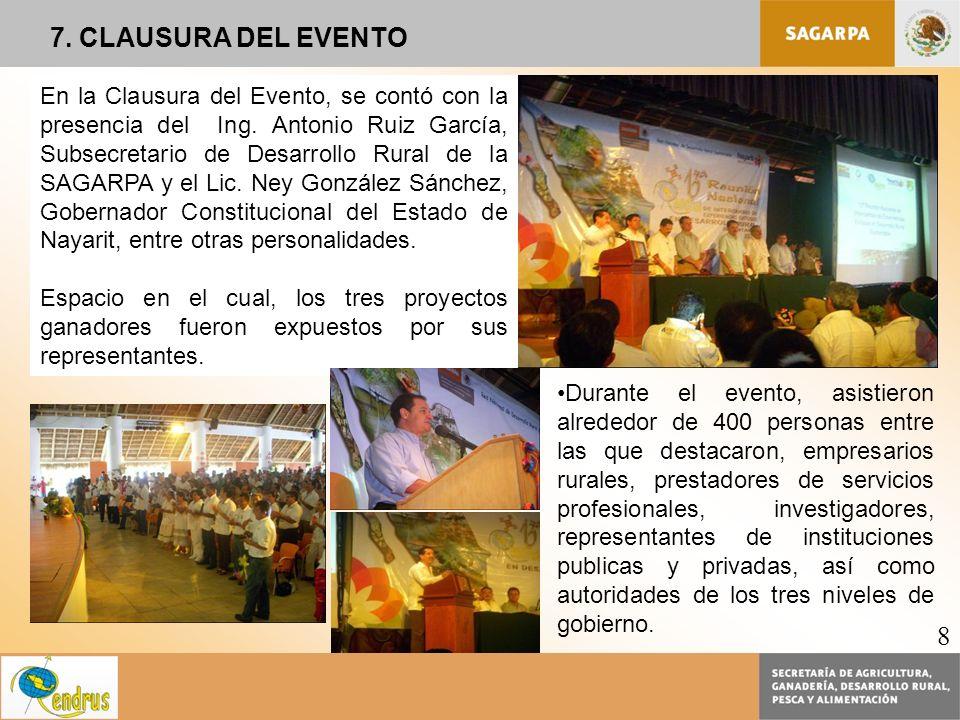 7. CLAUSURA DEL EVENTO