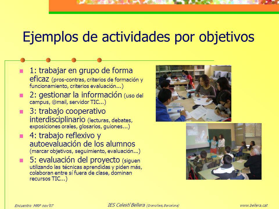 Ejemplos de actividades por objetivos