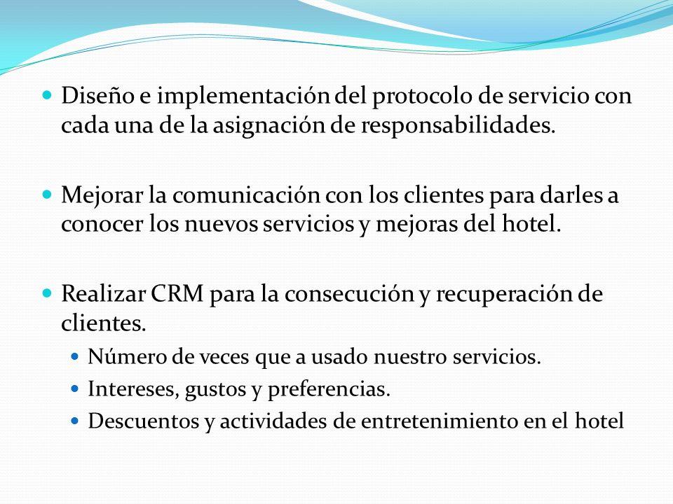 Realizar CRM para la consecución y recuperación de clientes.
