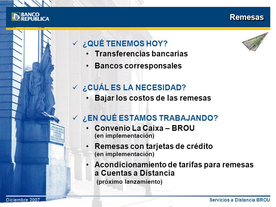 Remesas ¿QUÉ TENEMOS HOY Transferencias bancarias. Bancos corresponsales. ¿CUÁL ES LA NECESIDAD
