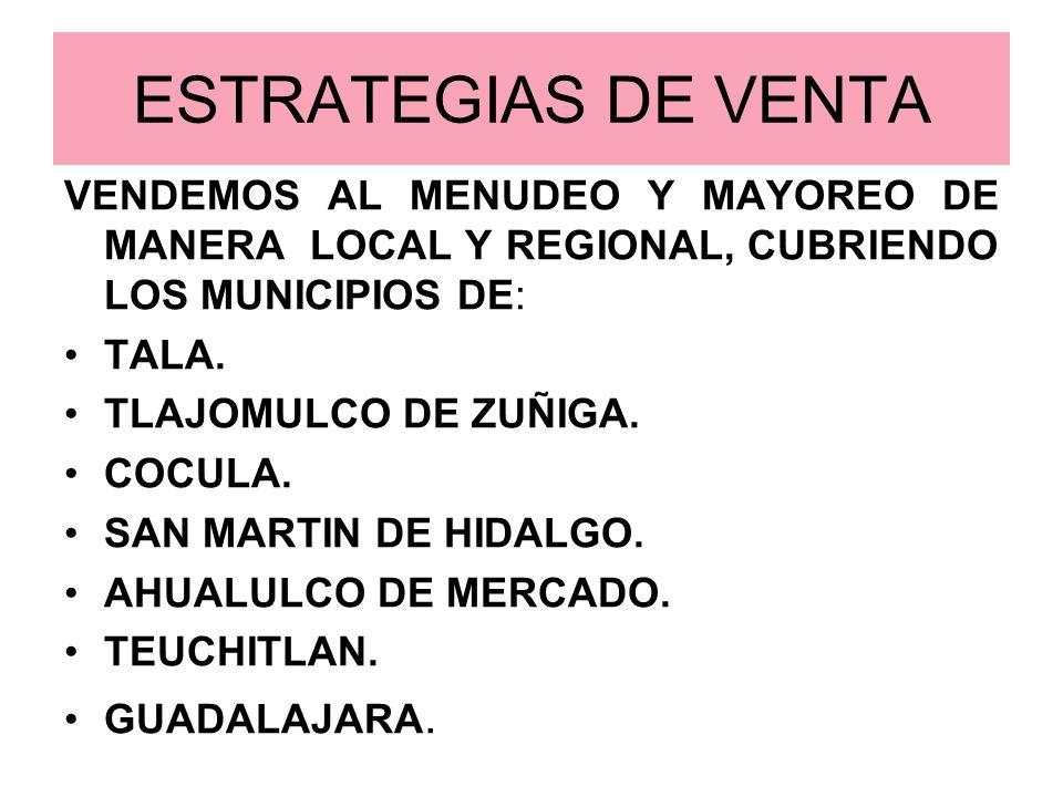 ESTRATEGIAS DE VENTAVENDEMOS AL MENUDEO Y MAYOREO DE MANERA LOCAL Y REGIONAL, CUBRIENDO LOS MUNICIPIOS DE: