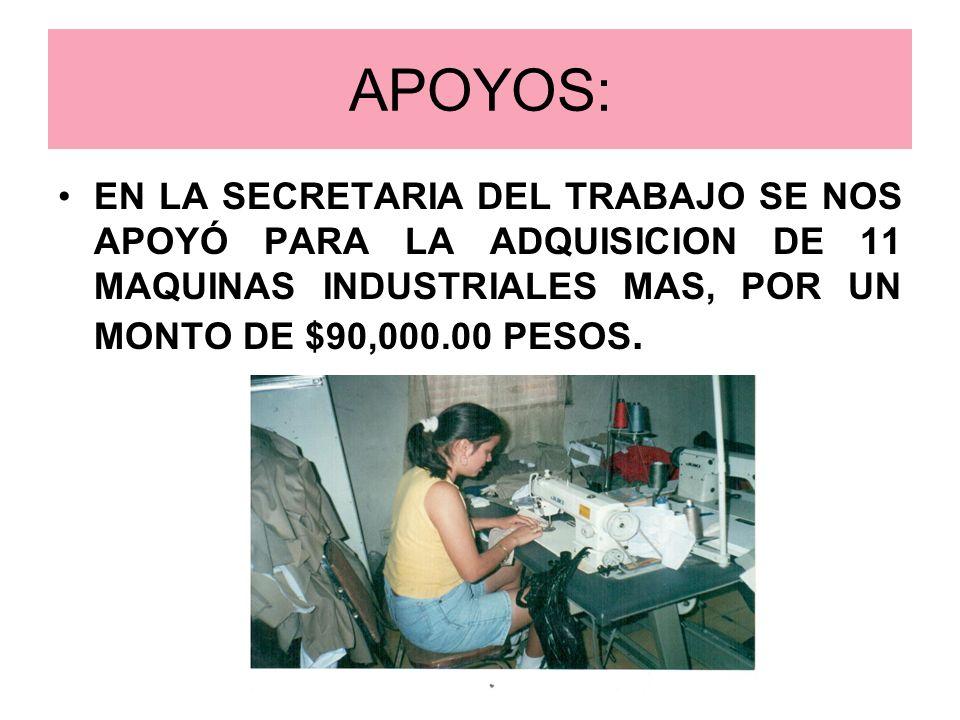 APOYOS:EN LA SECRETARIA DEL TRABAJO SE NOS APOYÓ PARA LA ADQUISICION DE 11 MAQUINAS INDUSTRIALES MAS, POR UN MONTO DE $90,000.00 PESOS.