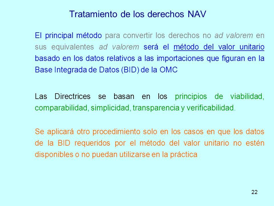 Tratamiento de los derechos NAV