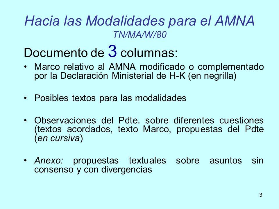 Hacia las Modalidades para el AMNA TN/MA/W/80