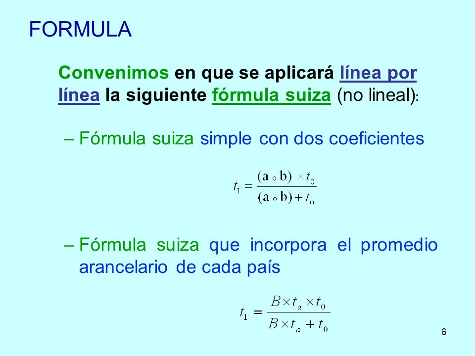 FORMULA Convenimos en que se aplicará línea por línea la siguiente fórmula suiza (no lineal): Fórmula suiza simple con dos coeficientes.