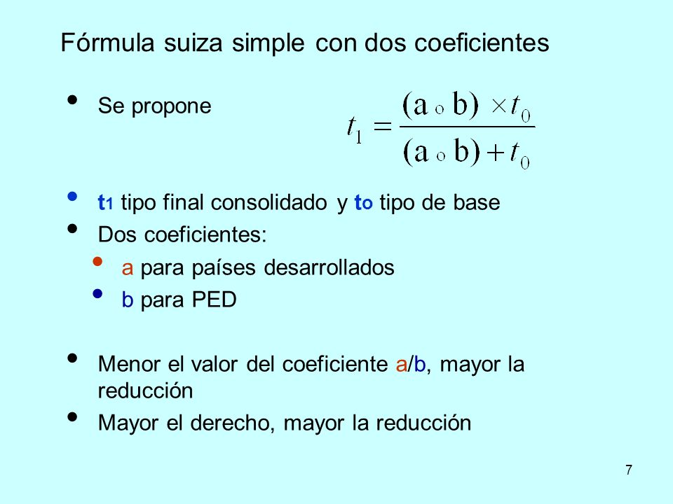 Fórmula suiza simple con dos coeficientes