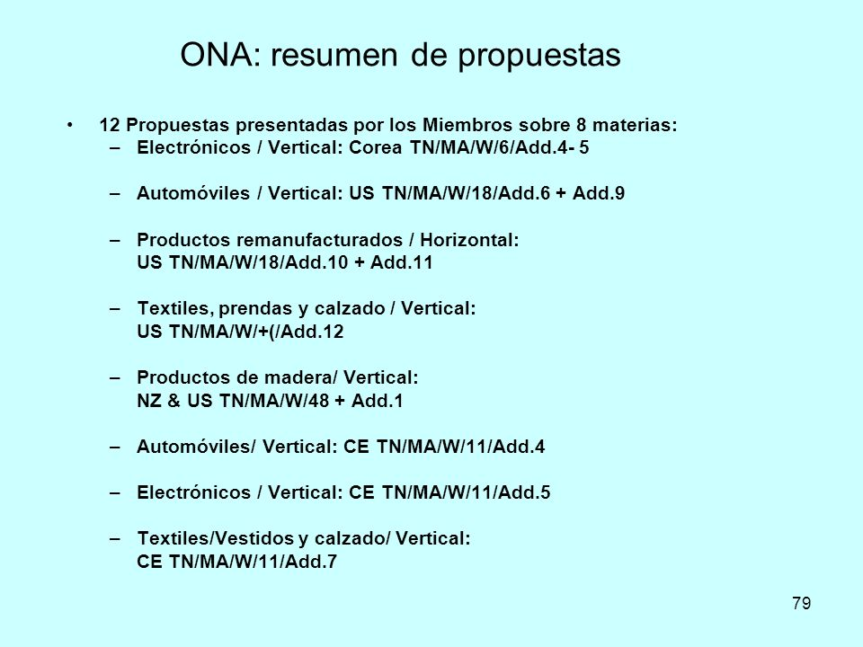 ONA: resumen de propuestas