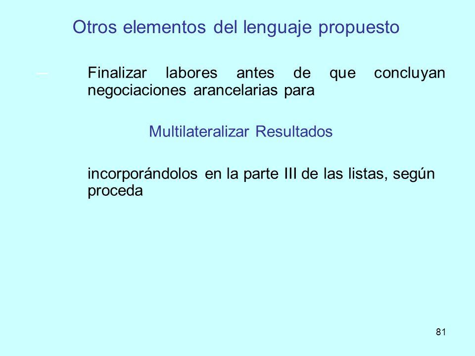 Otros elementos del lenguaje propuesto