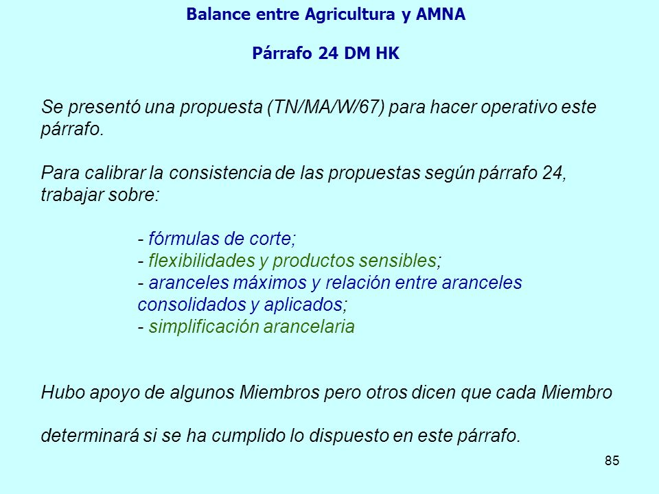 Balance entre Agricultura y AMNA