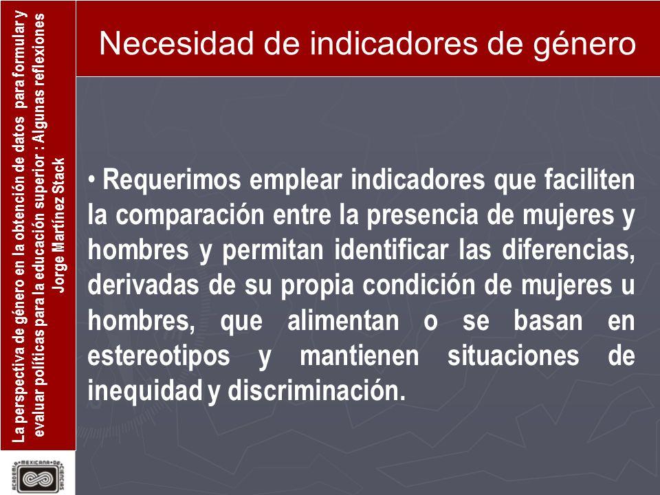Necesidad de indicadores de género