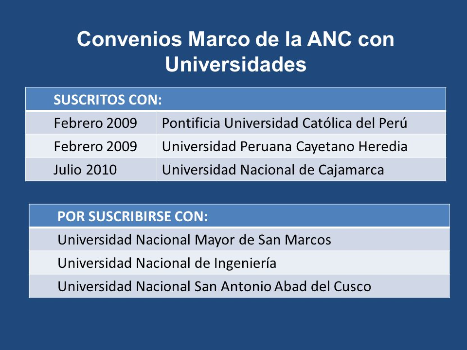 Convenios Marco de la ANC con Universidades