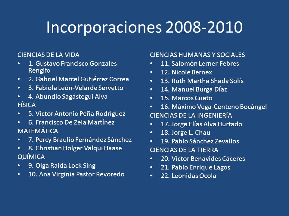 Incorporaciones 2008-2010 CIENCIAS DE LA VIDA