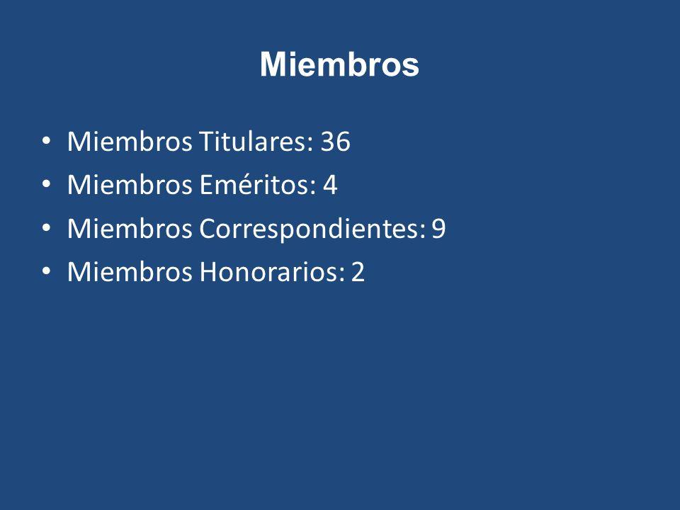 Miembros Miembros Titulares: 36 Miembros Eméritos: 4