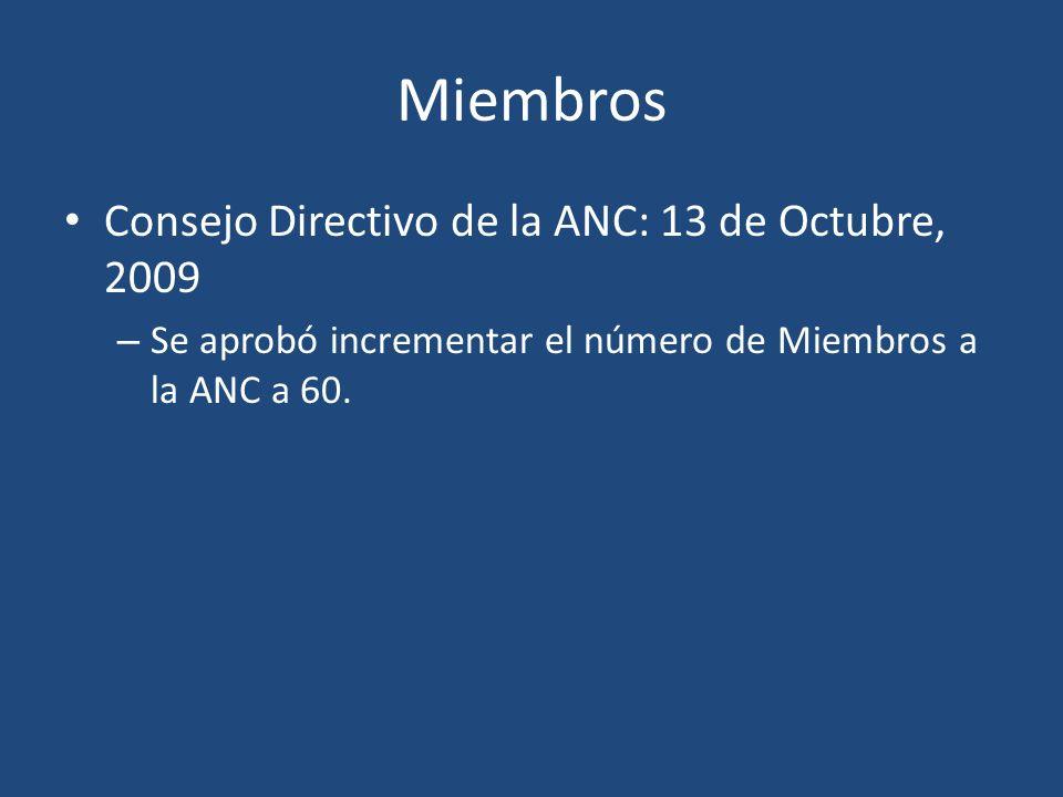 Miembros Consejo Directivo de la ANC: 13 de Octubre, 2009